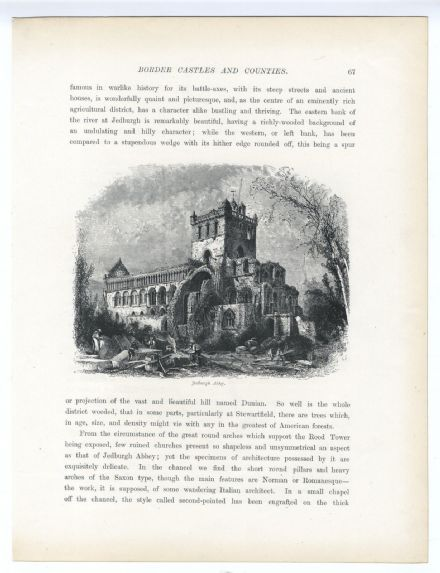 1880 PRINT Jedburgh Abbey SCOTTISH BORDERS Queen Mary House FERNIEHURST Yarrow